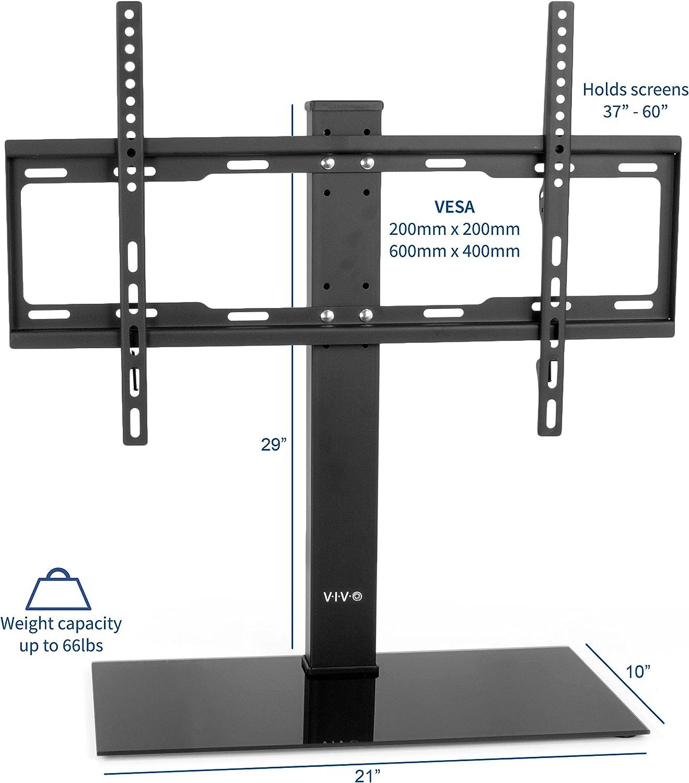 VIVO - Soporte universal para mesa de TV LCD con base de cristal para 37