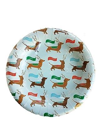 Dachshund Wiener Dogs Christmas Theme Green 8u0026quot; Paper Plates  sc 1 st  Amazon.com & Amazon.com: Dachshund Wiener Dogs Christmas Theme Green 8