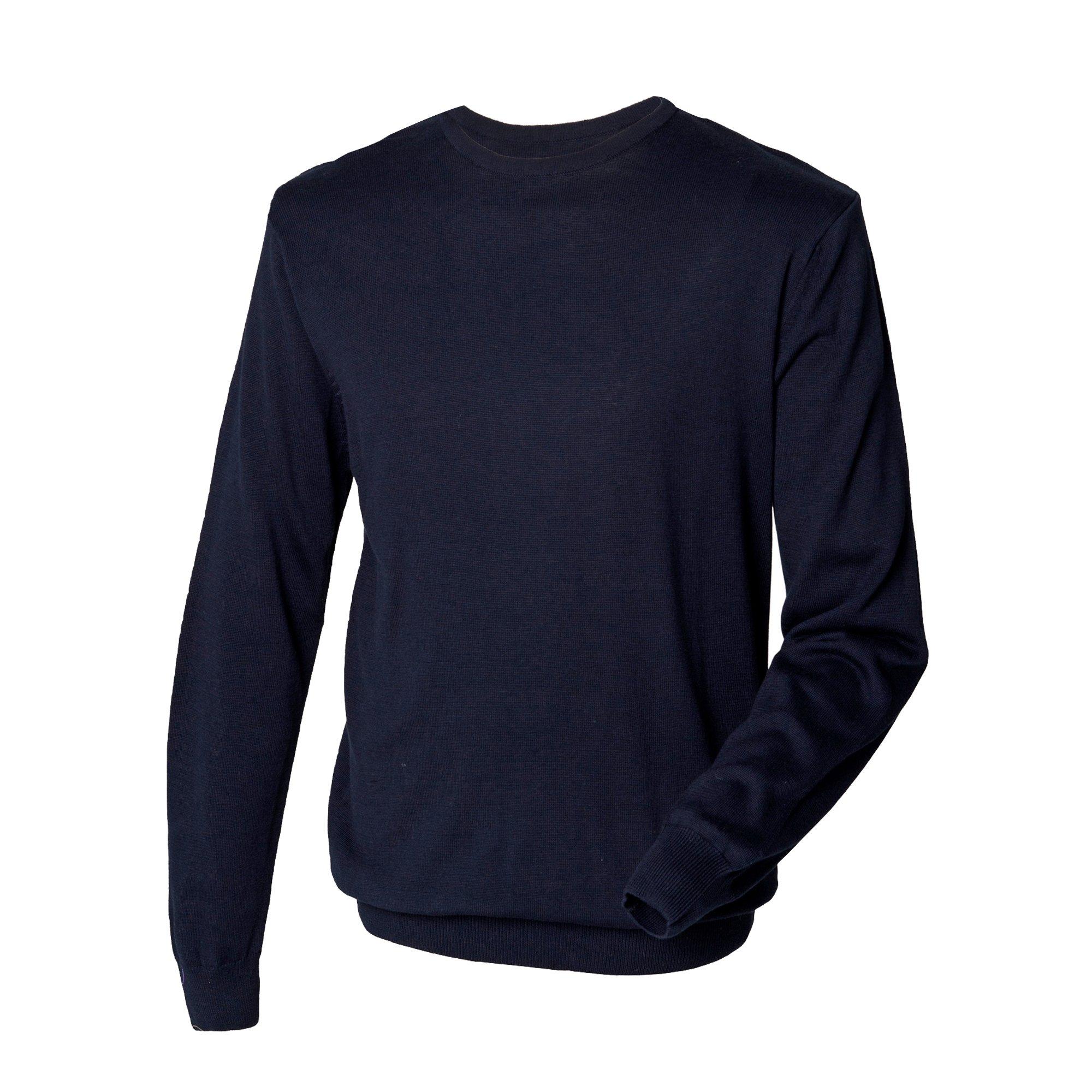 Henbury Mens Crew Neck 12 Gauge Fine Knit Jumper / Sweatshirt (XXXL) (Navy)