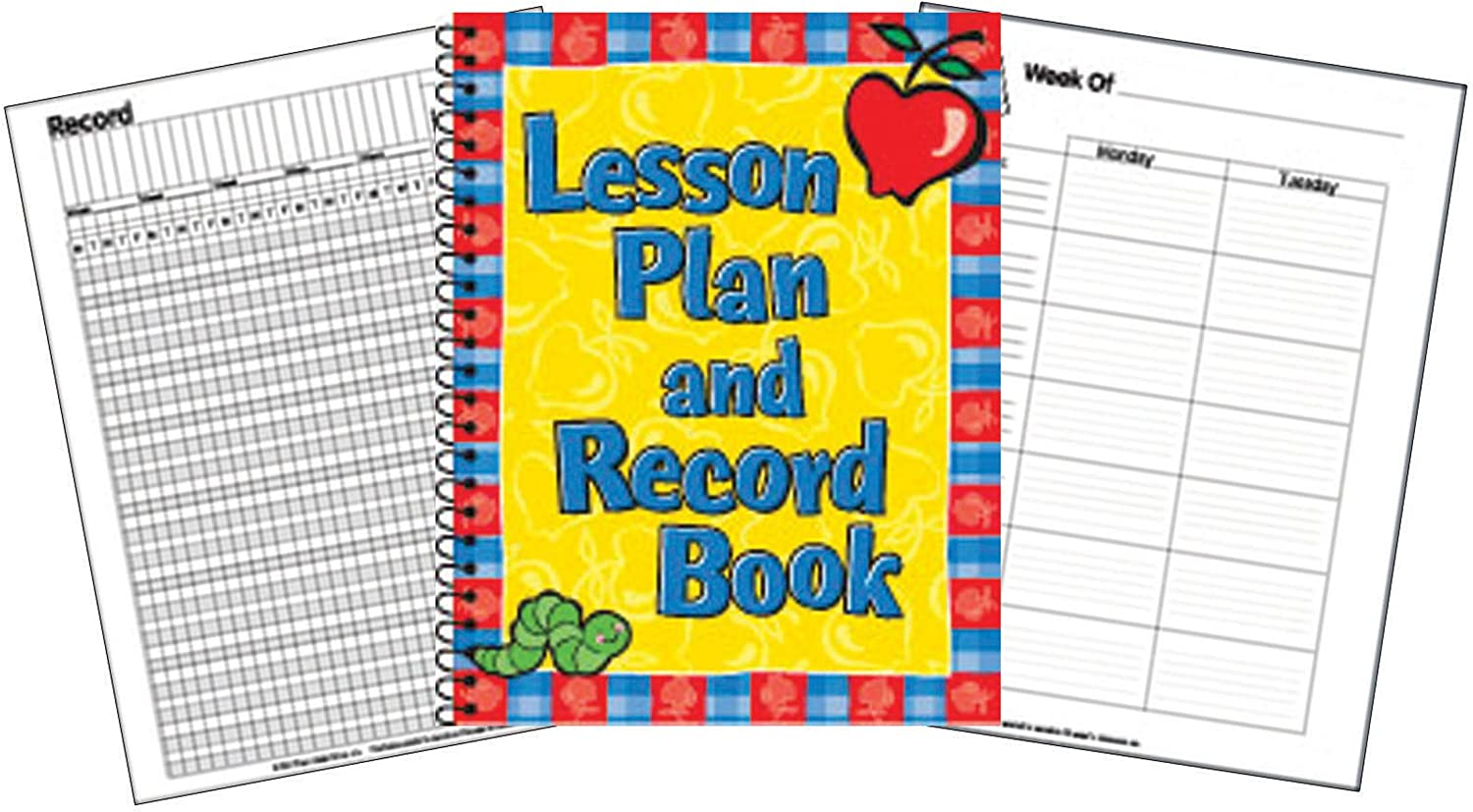 "Eureka Back to School Record and Lesson Plan Book for Teachers, 8.5"" x 11"", 1 pc, Apple"