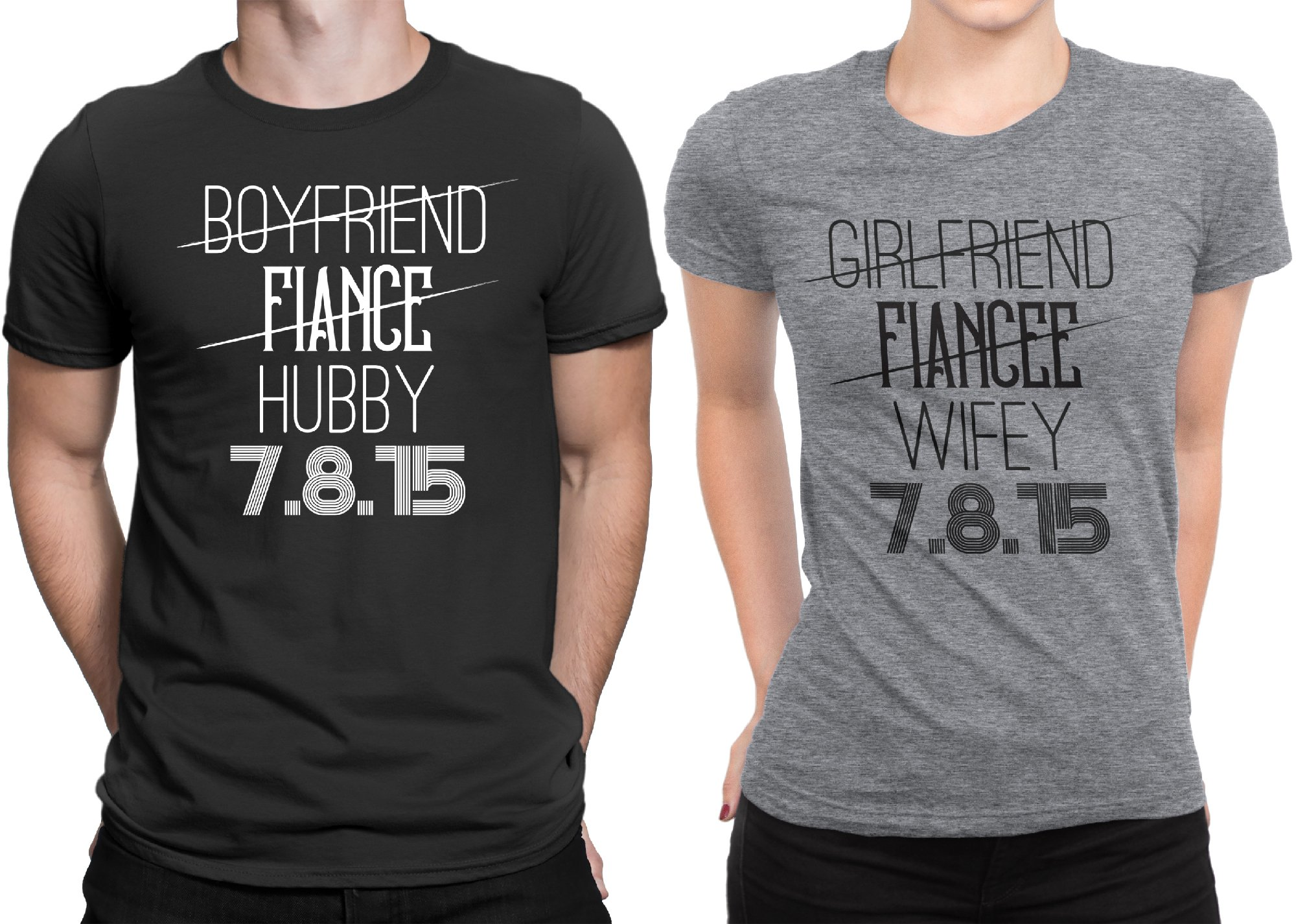 Hubby Wifey Newly Married Couple Matching T-shirt Honeymoon valentines Day Men Large / Women Medium | Black - Deep Heather