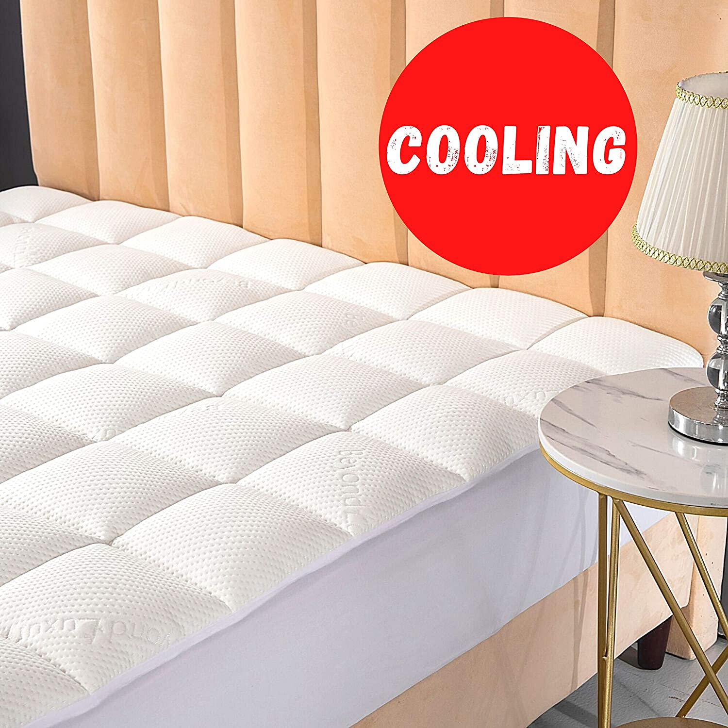 Beyond Luxury Queen Cooling Bamboo Mattress Pad with Fitted Skirt - Ultra Soft Cool Touch Mattress Pad Cover - Extra Plush Hypoallergenic Fill Pillow Top Rayon from Bamboo Pad Topper
