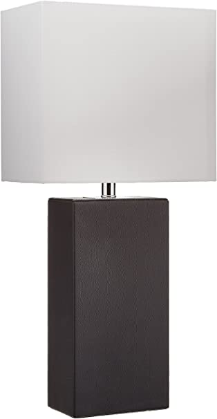 Elegant Designs Lt1025 Blk Modern Leather White Fabric Shade Table Lamp Black Amazon Com