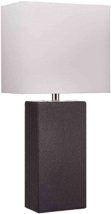 Elegant Designs LT1025 BLK Modern Genuine Leather Table Lamp, Black