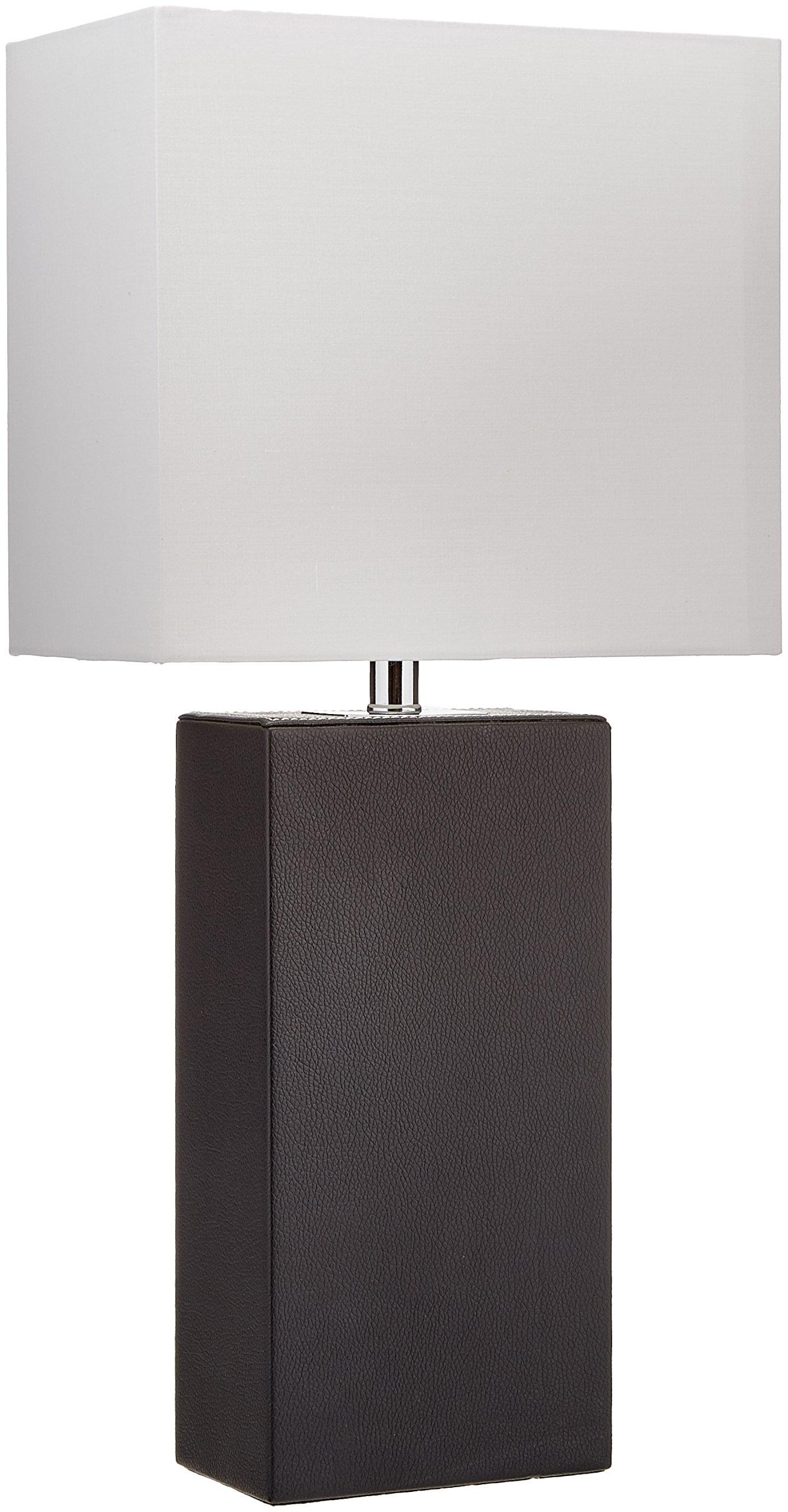 Elegant Designs LT1025-BLK Table Leather Lamp, Black