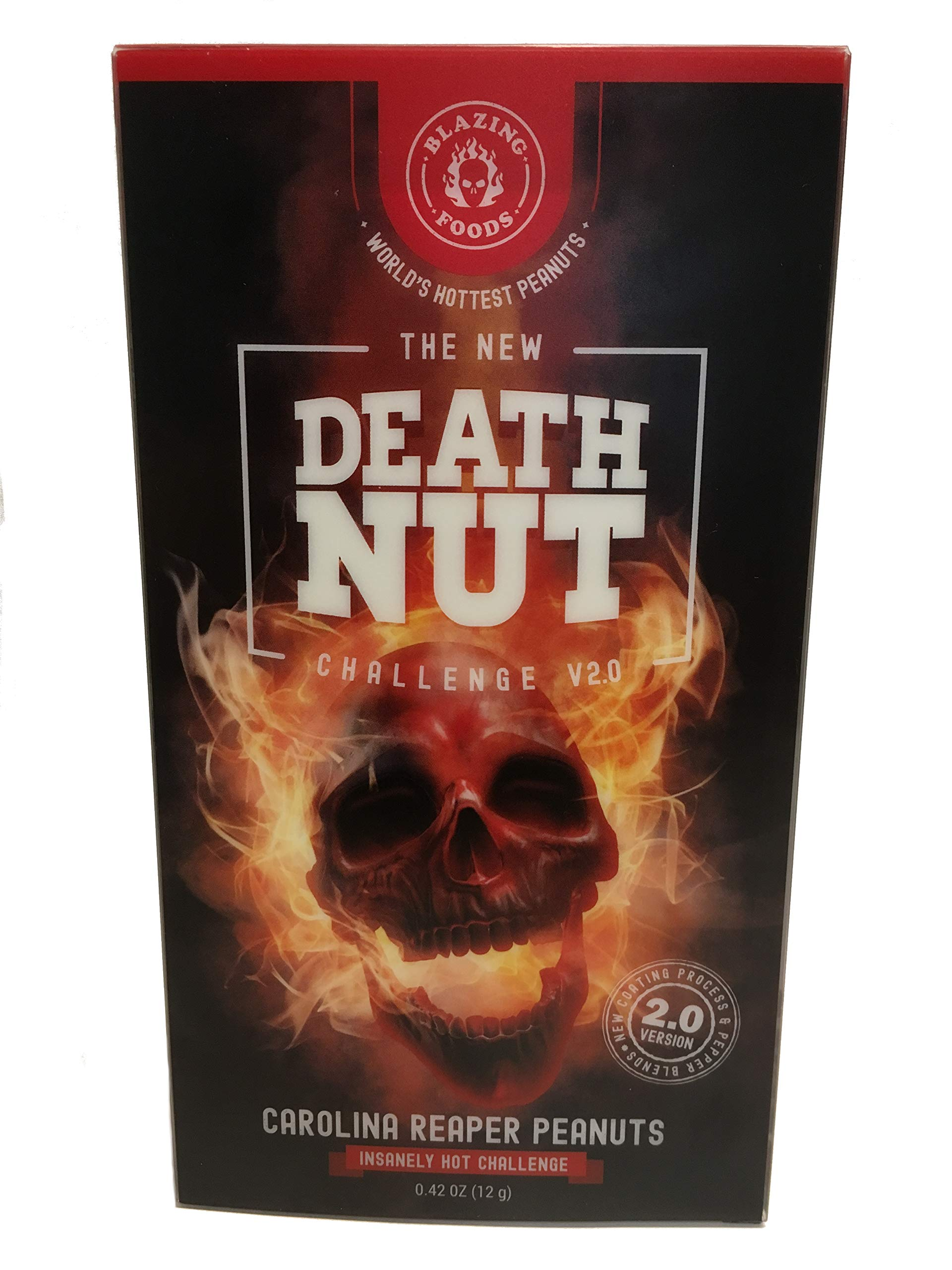 The Death Nut Challenge Version 2.0 Carolina Reaper Peanuts new and improved with better flavor, crunch, pepper blends including Ghost Pepper, Moruga Scorpion makes the perfect gift by BLAZING FOODS