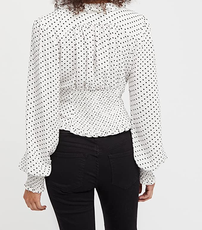 button up long sleeve Red and white polka dot butterfly collar vintage women/'s Van Lanne blouse thrift clothing