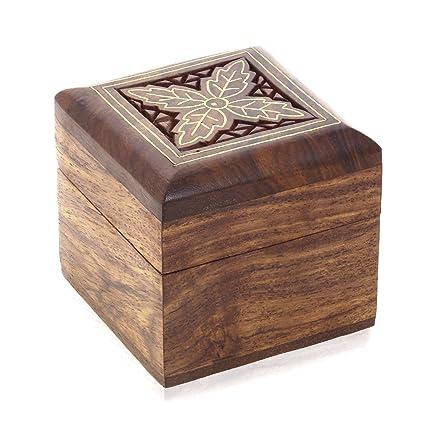 ShalinIndia caja de madera para pendientes pequeñas joyas regalos anillos dedo anillos gemelos