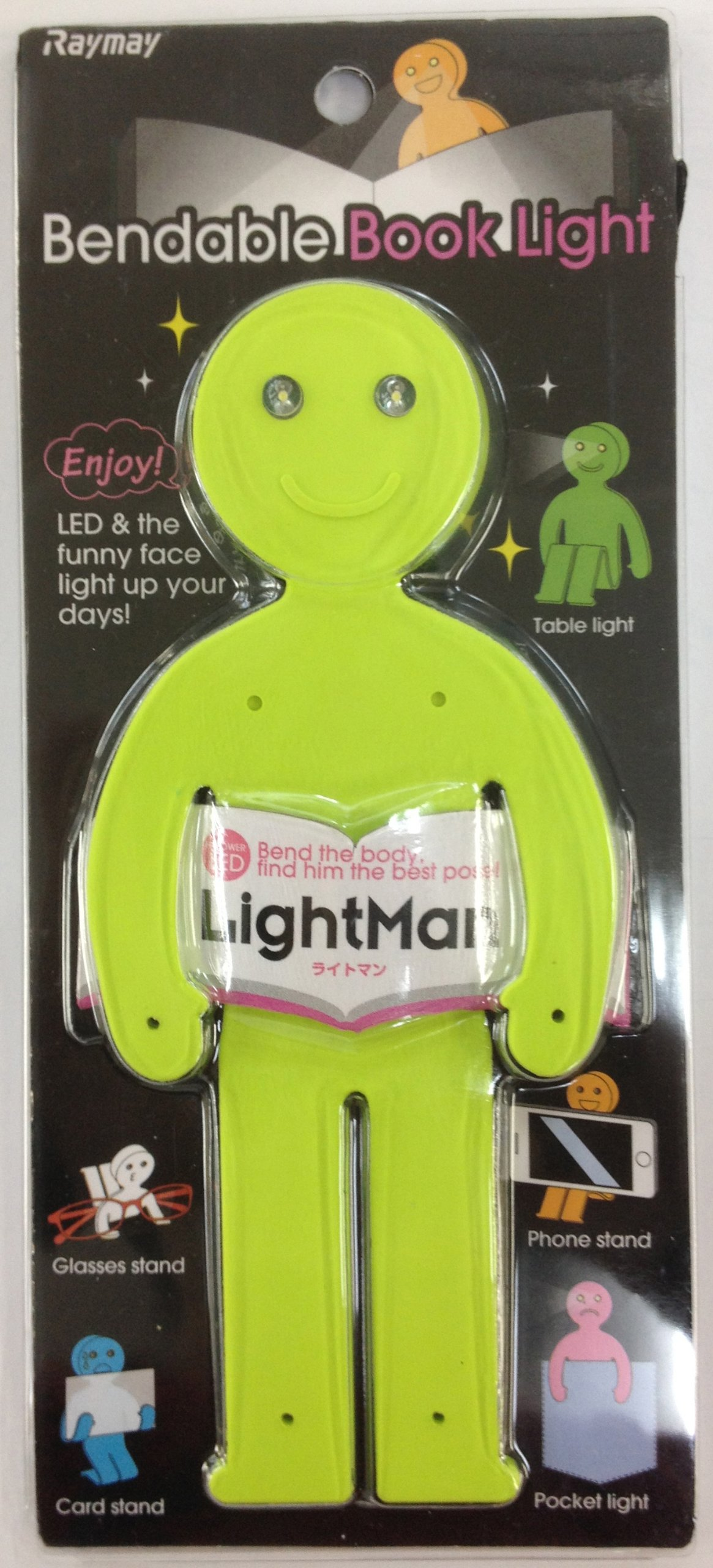LightMan Bendable Book Light & Stand - Happy Green
