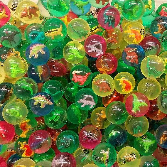 German Trendseller® 12 x pelotas de dinosaurio ┃figuras adentro ┃flummi ┃fiestas infantiles┃ idea de regalo┃cumpleaños de niños┃ 12 unidades: ...