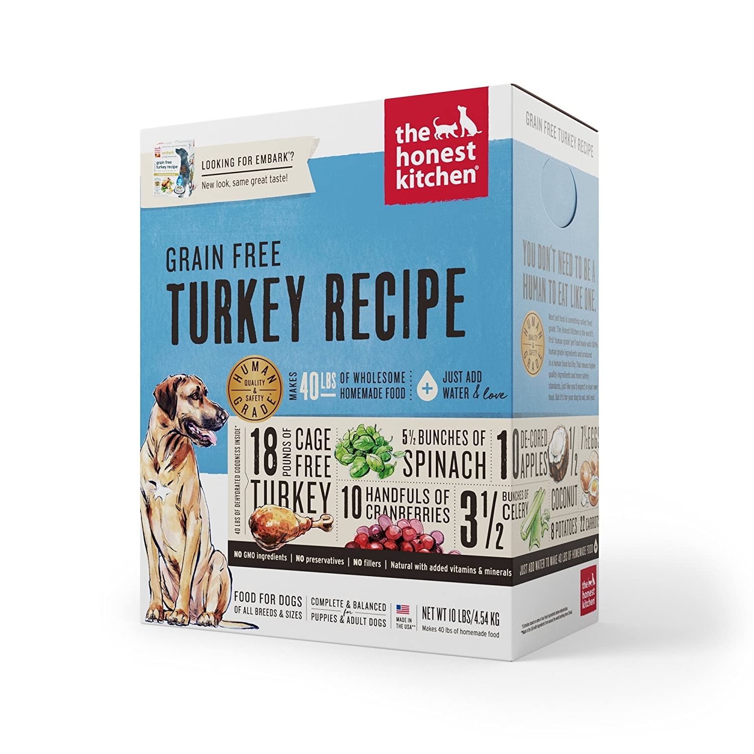 The Honest Kitchen Human Grade Dehydrated Grain Free Turkey Dog Food ...