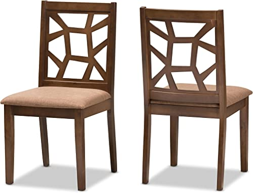 Baxton Studio Pamina Mid-Century Light Brown Fabric Upholstered and Walnut Brown Finished Dining Chair