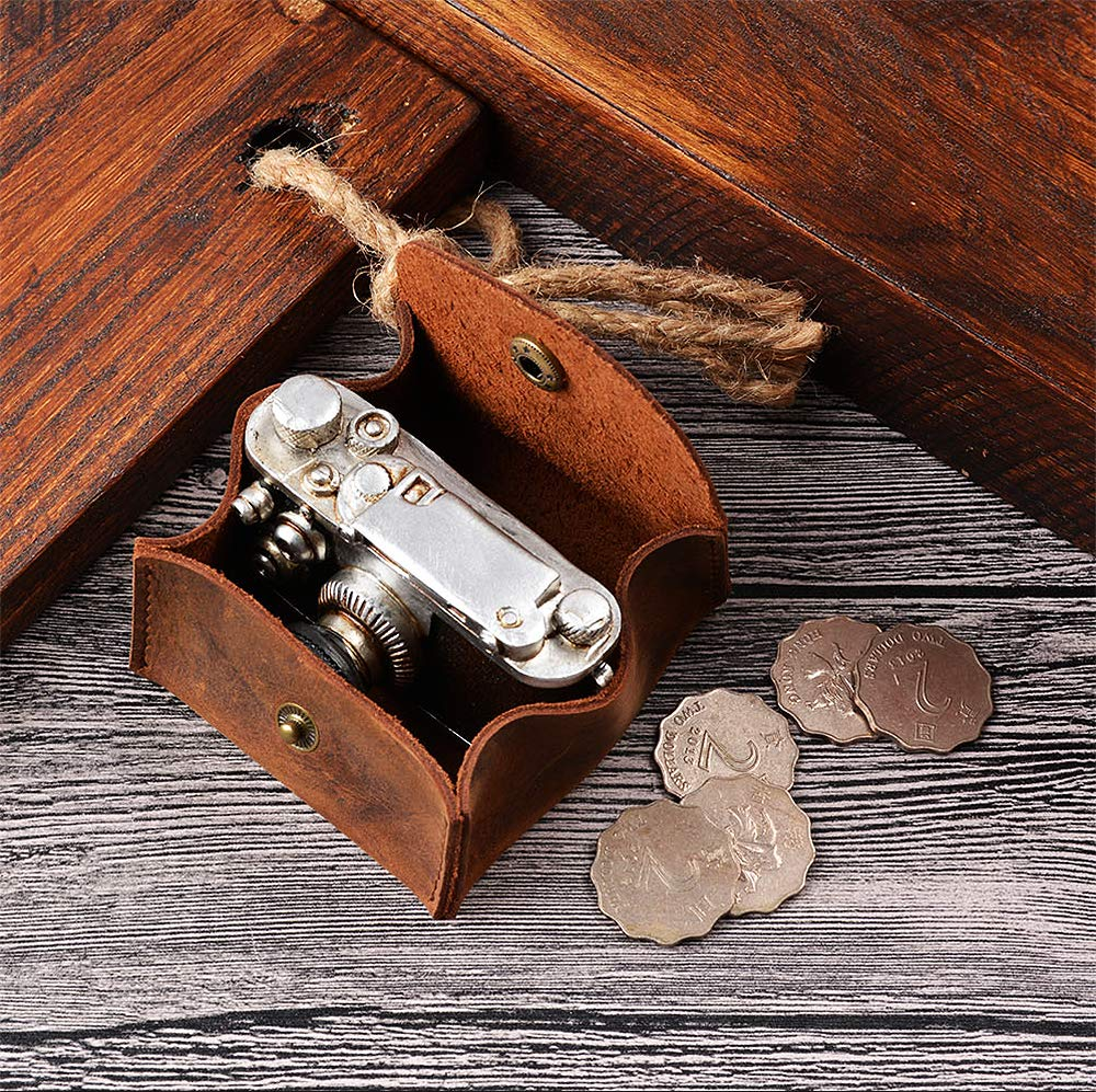Jurxy Rustic Leather Moon Pocket Coin Case Genuine Leather Squeeze Coin Purse Pouch Change Holder Tray Purse Wallet for Men /& Women Brown
