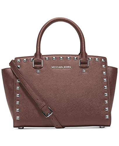 06d84dca105f Michael Kors Selma Stud Medium Top Zip Satchel Handbag in Dusty Rose  Silver  Handbags  Amazon.com
