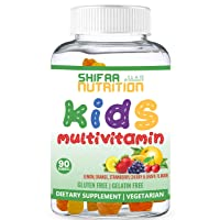 SHIFAA NUTRITION Halal & Vegetarian Gummy Vitamins for Kids | 13 Vitamins, Minerals & Antioxidants for Children | Natural & Free of Gelatin Gluten Dairy Eggs Peanuts Soy | Halal Vitamins | 90 Gummies
