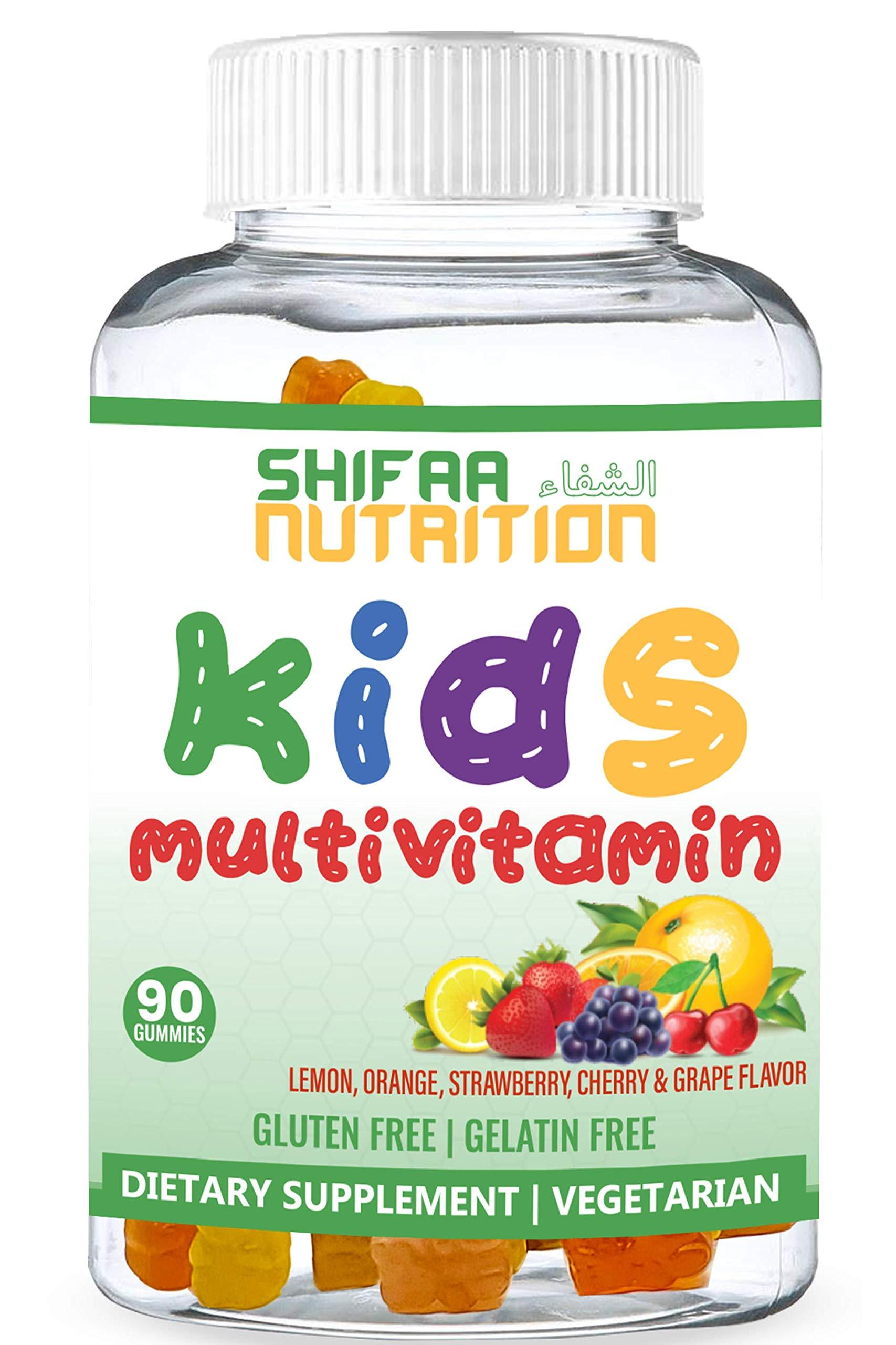 SHIFAA NUTRITION Halal & Vegetarian Gummy Vitamins for Kids   13 Vitamins, Minerals & Antioxidants for Children   Natural & Free of Gelatin Gluten Dairy Eggs Peanuts Soy   Halal Vitamins   90 Gummies