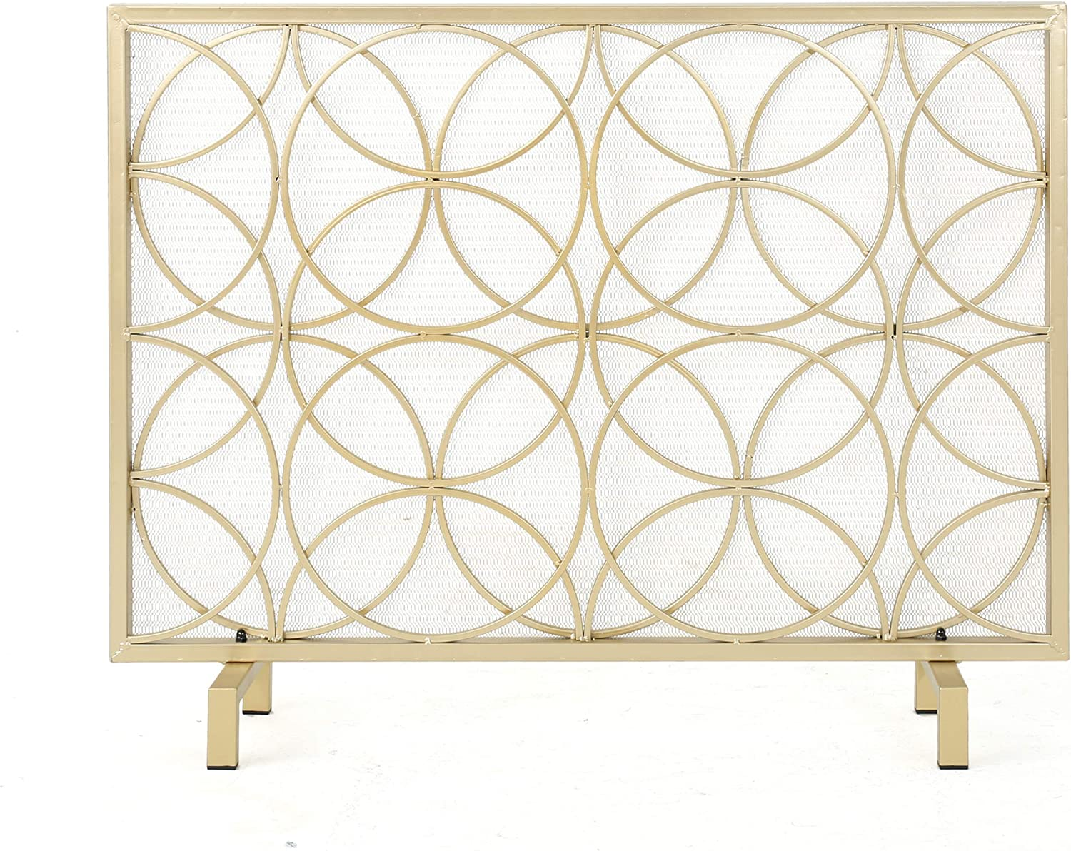 Amazon Com Christopher Knight Home Valeno Single Panel Iron Fireplace Screen Gold Furniture Decor