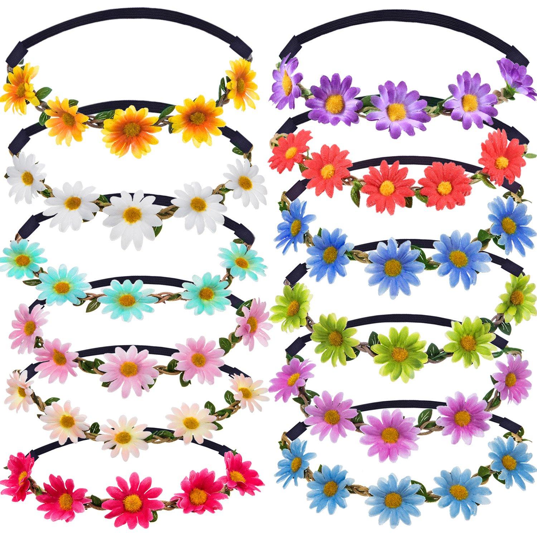 12 Piè ces Multicolore Dame Fille Couronne de Fleurs de Mode Bandeaux de Guirlandes Florales pour Fê te de Mariage Festival Bememo