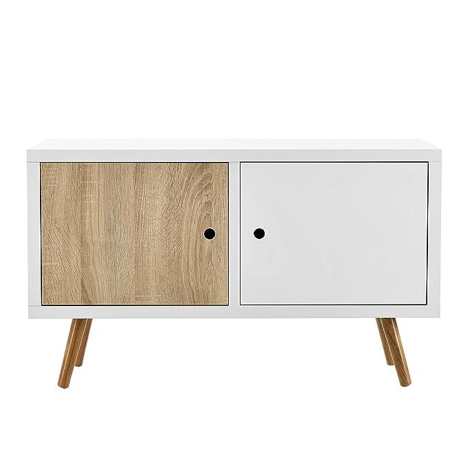 en.casa] Cómoda Retro Sideboard Mesa de TV Lowboard con 2 ...