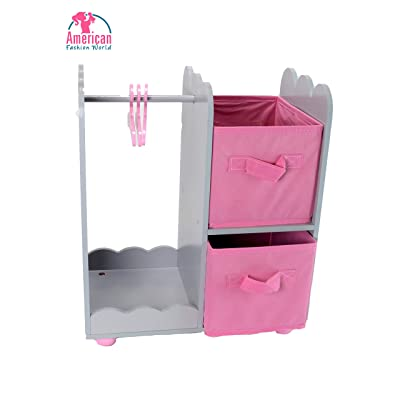 "American Fashion World 14 inch Doll Furniture| Doll Open Wardrobe with Star Detail and Hangers | Fits 14"" American Girl Wellie Wisher Dolls: Toys & Games"