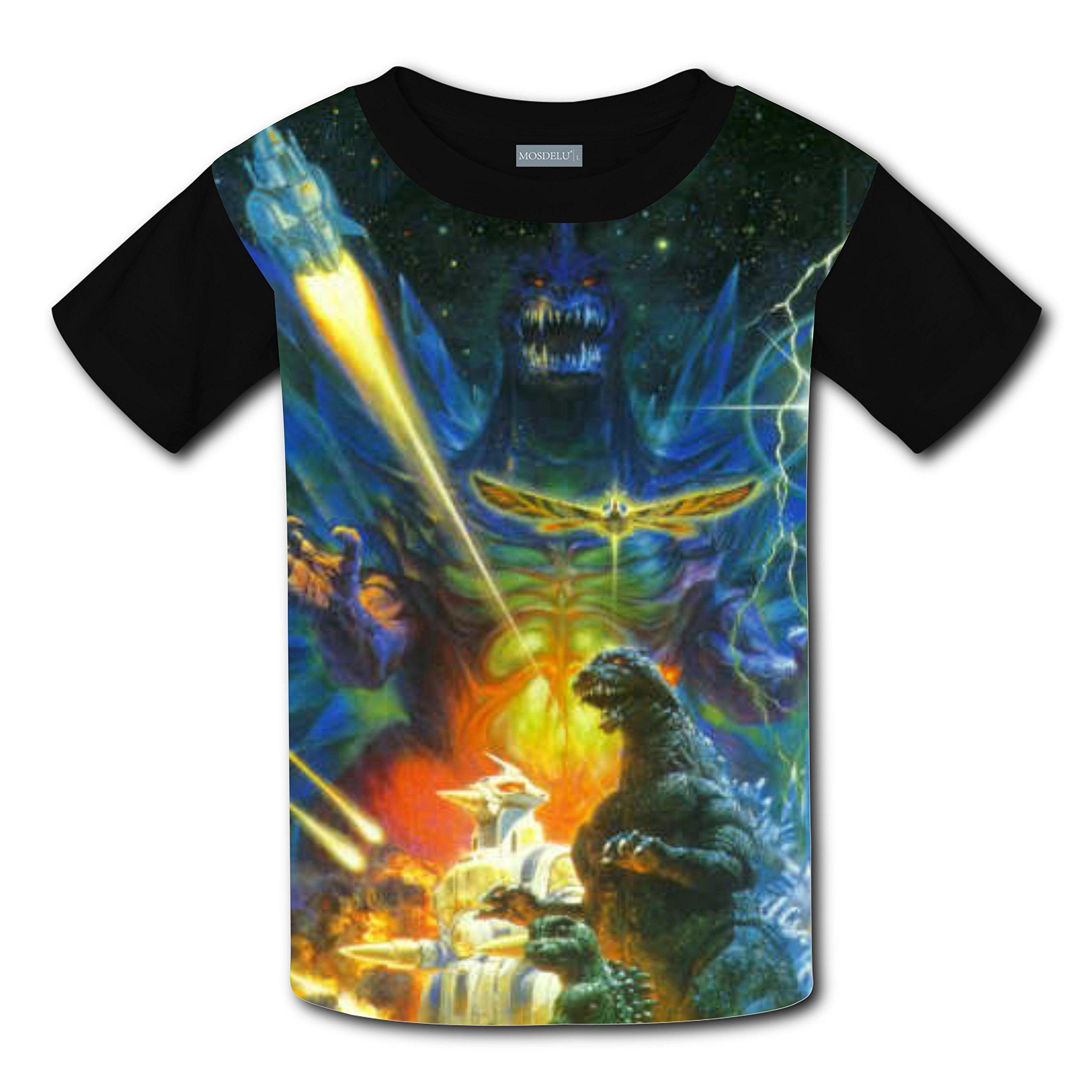 RODONO Unisex Kids Godzilla 3D Printed Round Collar Short Sleeve T- Shirt by RODONO