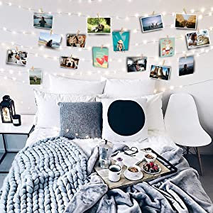 FavFactory 44ft Photo Clip String Fairy Lights - 100 LED Lights - 100 Transparent Clips Hanging Pictures - USB Powered - 12 Sticky Wall Hooks - Perfect Dorm Bedroom Wall Decor Wedding Decorations
