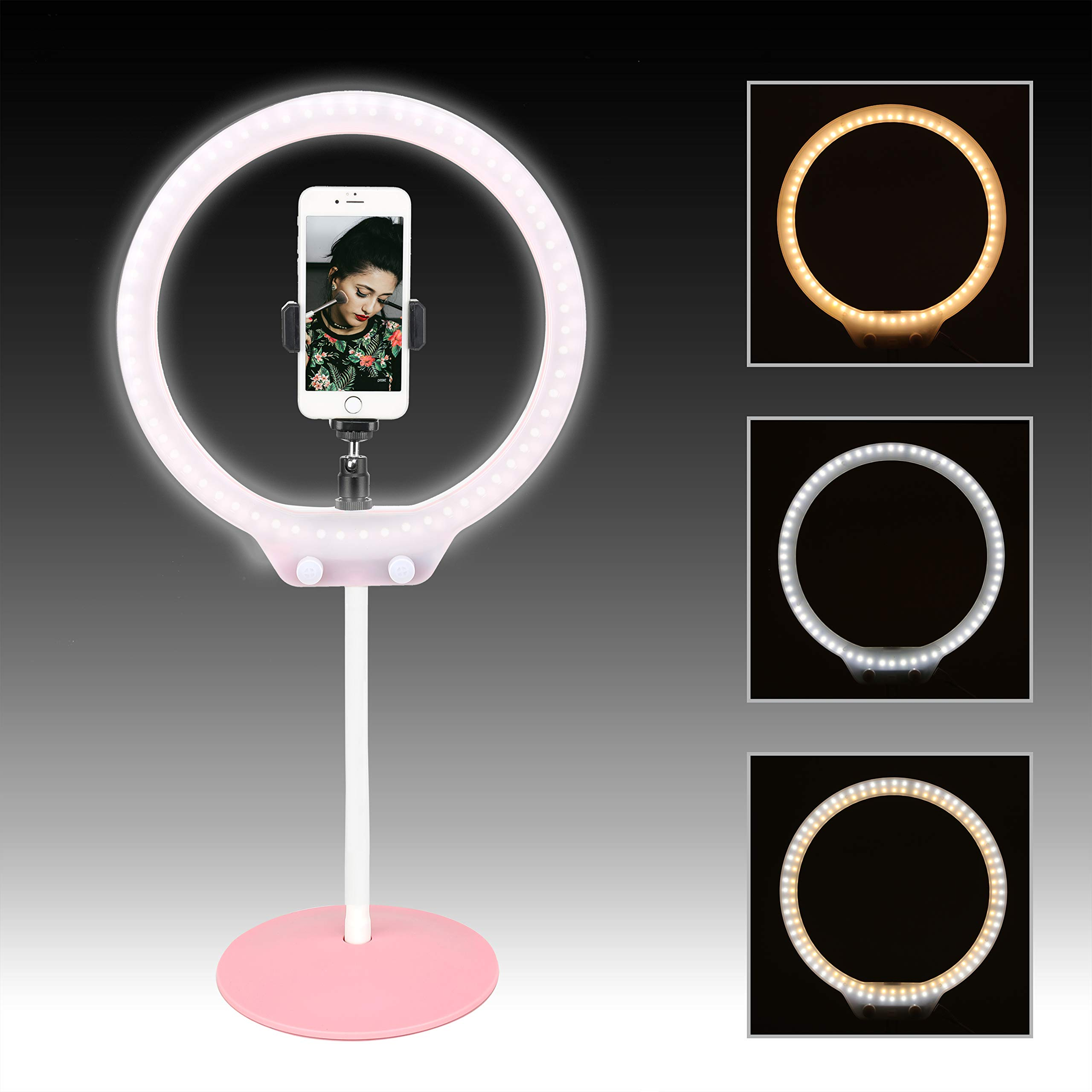"""Zomei 10"""" Table Dimmable Selfie Ring Light with Ball Head, Cell Phone Holder for YouTube Video, Portrait Photography, and Makeup, LED Camera Light,Compatible with iPhone 8 7 6 Plus X Android(Pink)"""