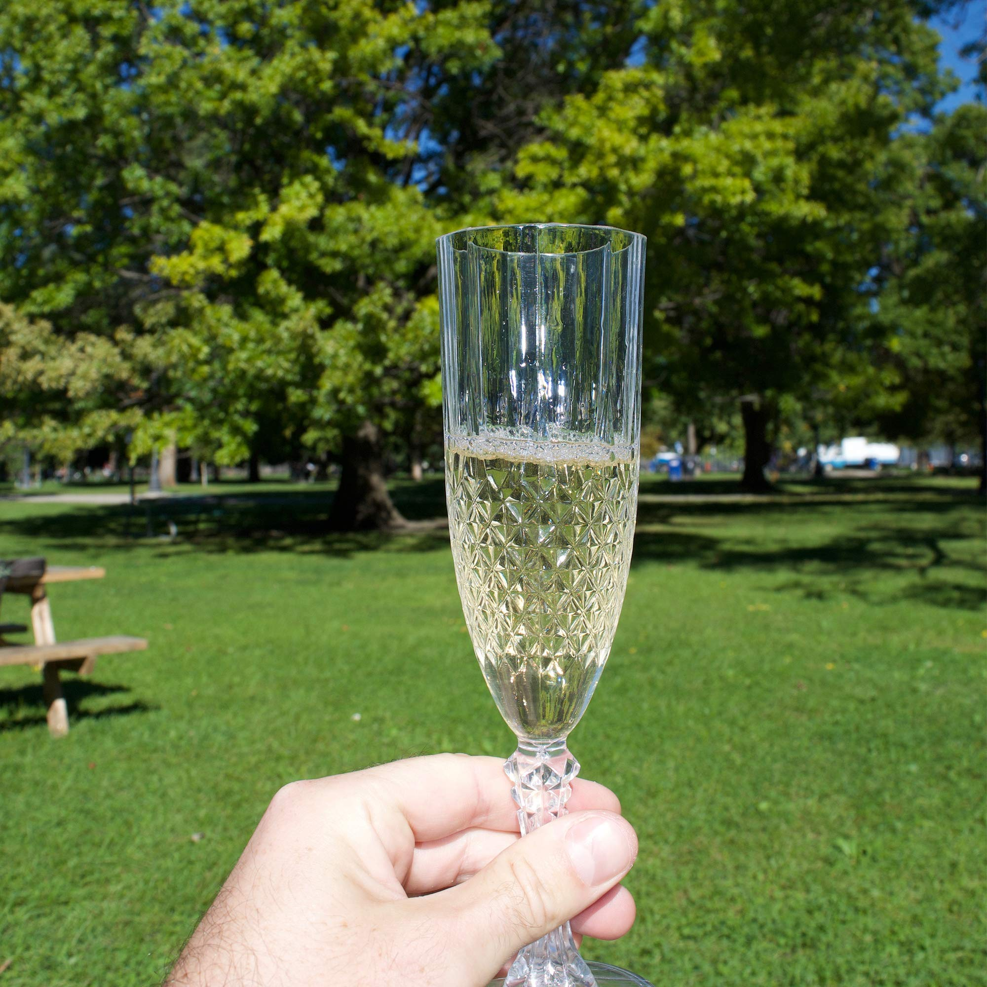 SOLAS Clear Plastic Champagne Flutes - Set of 12 Beautifully Designed Reusable Unbreakable Shatterproof Acrylic Disposable Champagne Glasses   Classic Design/Cut 8oz Plastic Champagne Glasses by SOLAS (Image #4)