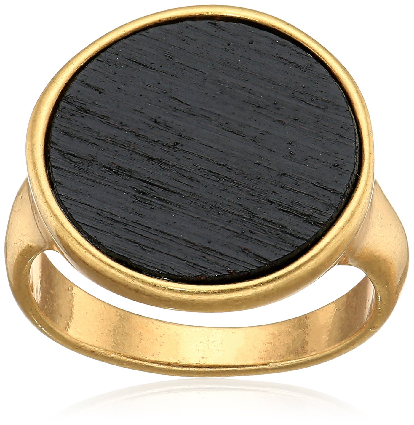 Lucky Brand Womens Black Wood Ring, Gold, 7