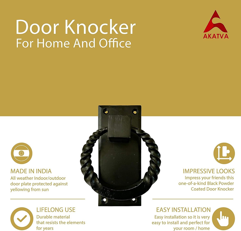 Exterior Home Door Knocker for Doors Handmade Black Powder Coated Cast Iron Door Knocker Cast Iron Door Knocker Black Powder Coated Akatva Black Cast Iron Door Knocker for Front Door