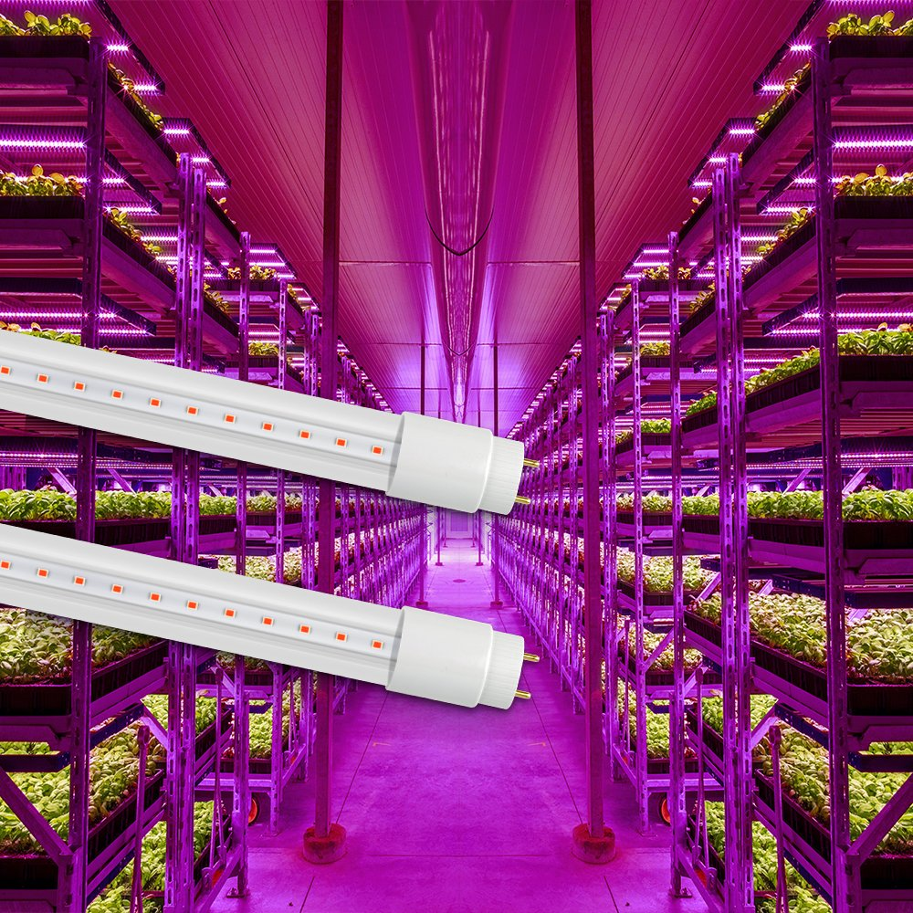 GrowLED Thinklux LED T8 - LED Grow Light Tube for Garden, Hydroponic, and Greenhouse - 18 Watts - Red/Blue Spectrum, Bypass Ballast, Direct Wire, UL Listed, Pack of 4