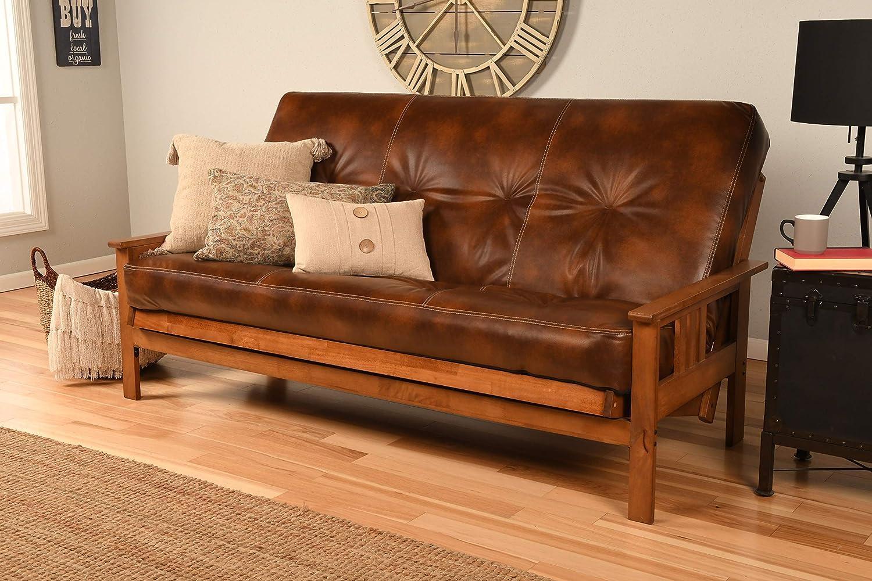 Kodiak Furniture Monterey Futon Set (Multiple finishes Available) Innerspring Mattress Included, Full, Oregon Trail Saddle, No Drawers