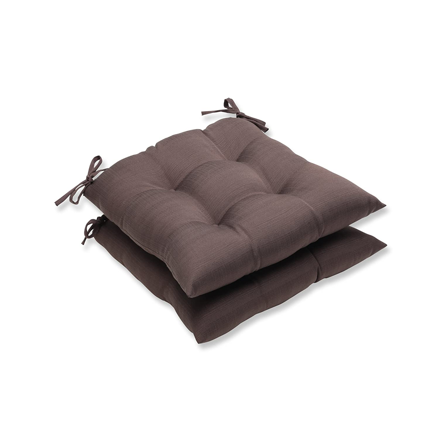 Pillow Perfect Outdoor Forsyth Chocolate Wrought Iron Seat Cushion, Set of 2