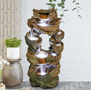 """39"""" H 8-Tier Rock Floor Standing Fountain Water Fall with 7 LED Light for Indoor Decoration or Outdoor Garden"""