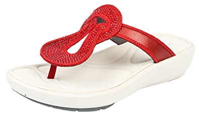 1b163c986b41 Clarks Women s Wave Glitz Red Slippers - 3.5 UK  Buy Online at Low ...