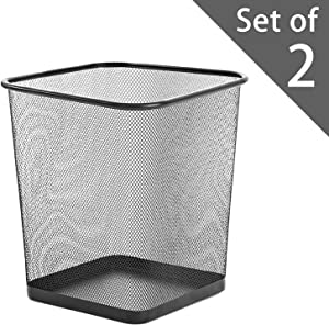 """Zuvo Square Mesh Wastebasket Metal Wire Garbage Trash Can for Office Home Bedroom Height 10.1"""" Width 10"""", 4 Gallon (16 Quart) (2, Black)"""