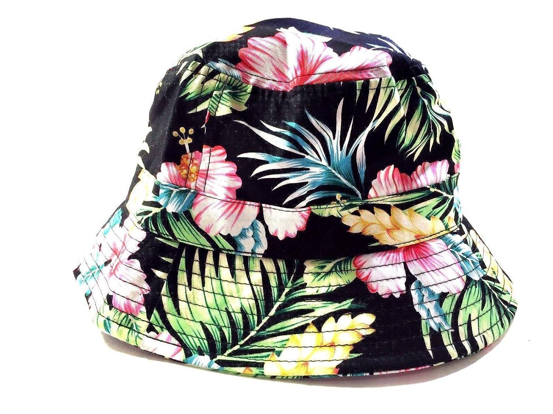 Amazon.com   New Black Floral Print Hawaiian Bucket Hat Cap One Size Adult  Unisex Urban   Sports   Outdoors 6ed60f5fcbc