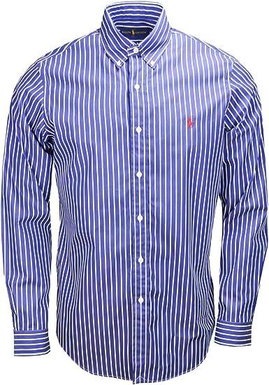 Chemise rayée Ralph Lauren bleu marine et blanche pour homme