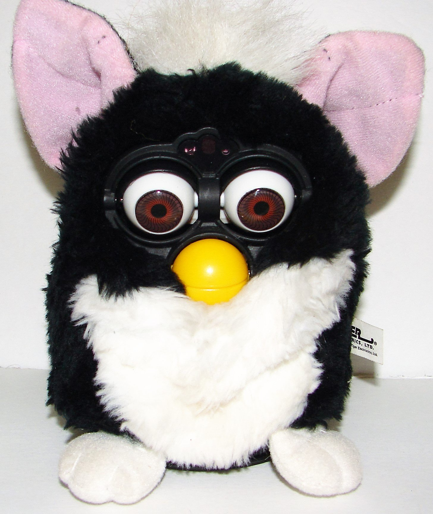 1998 Furby Model 70-800 - Black with White Tummy and Pink Ears by Tiger Electronics