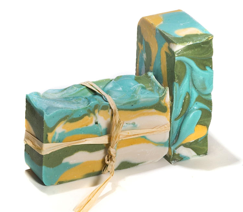 Pastilla de jabón de té verde (4 Bar Set)-Jabón de hierbas orgánico y artesanal con aceites esenciales terapéuticos. Jabón corporal y facial hidratante.