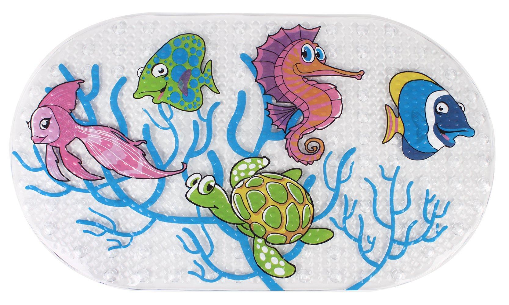 Yimobra Original Bath tub and Shower Mat for Kids Anti Bacterial,Phthalate Free,Latex and Machine Washable Cartoon Pattern Mats Materials,(Baby 27x15 Inch, Fish)