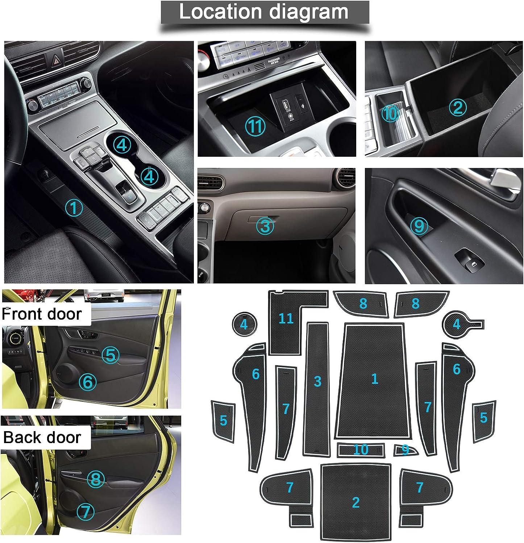 Zubeh/ör Innenraum Antirutschmatte f/ür Wasserbecher Aufbewahrungsbox Autoinnenausstattung My 2020+ YEE PIN Gummimatten Kona Elektro