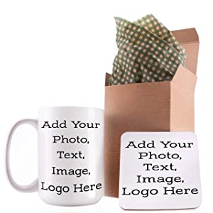 Personalized Coffee Mug with Your Photo and Text - Customizable 15oz Dishwasher Safe Large Cup with Matching Coaster - Create Your Own Design