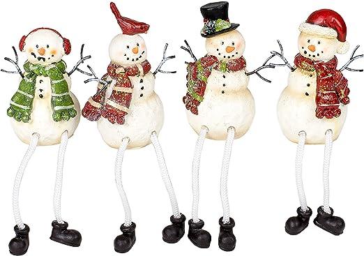 Amazon Com Glitter Striped Snowman 4 X 3 Resin Stone Christmas Shelf Sitter Figurines Set Of 4 Kitchen Dining