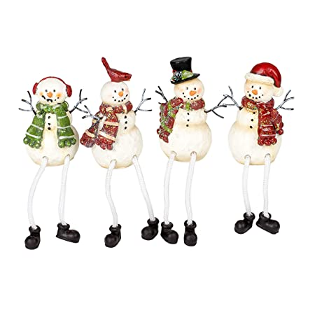 Glitter Striped Snowman 4 x 3 Resin Stone Christmas Shelf Sitter Figurines Set of 4