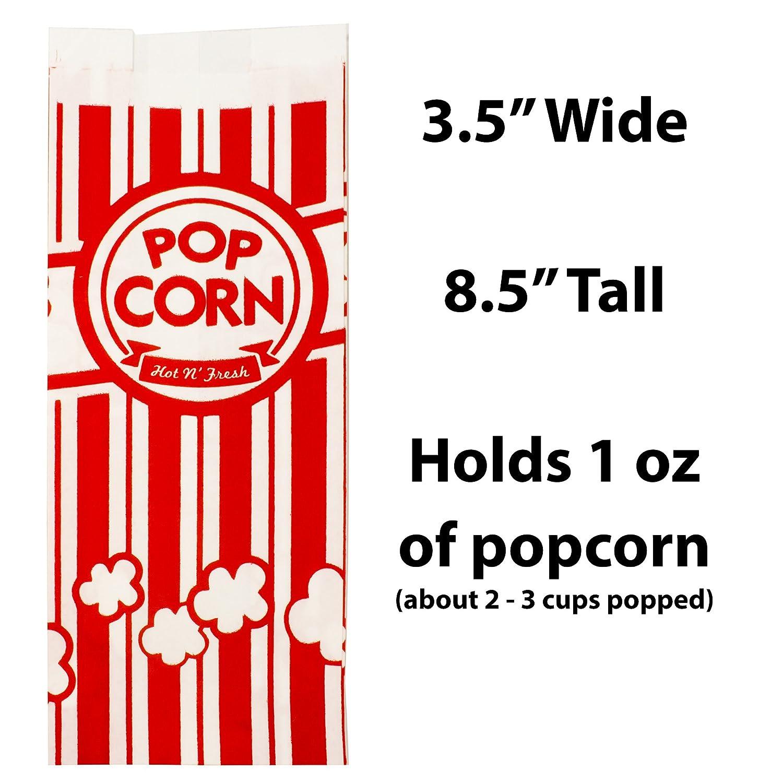 Con revestimiento de palomitas de maíz bolsas. Para fugas/resistencia al desgarro. Single Serving 1oz fundas de papel en nostálgico diseño rojo/blanco.