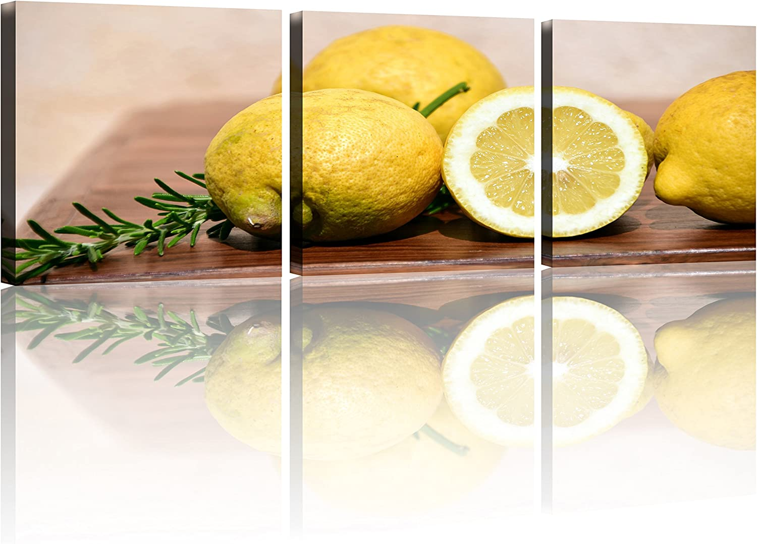 NAN Wind 3 Pcs Still Life Fresh Yellow Lemon Wall Art Painting Modern Giclee Stretched and Framed Artwork The Picture for Kitchen Decoration Fruit Pictures Photo Prints on Canvas