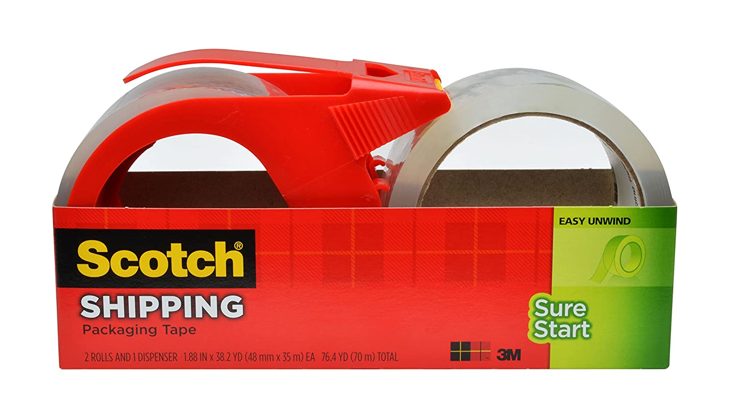 Scotch Sure Start Shipping Packaging Tape, 1.88 x 38.2 Yards, 2 Rolls and 1 Dispenser (3450S-2-1RD) 3M Office Products