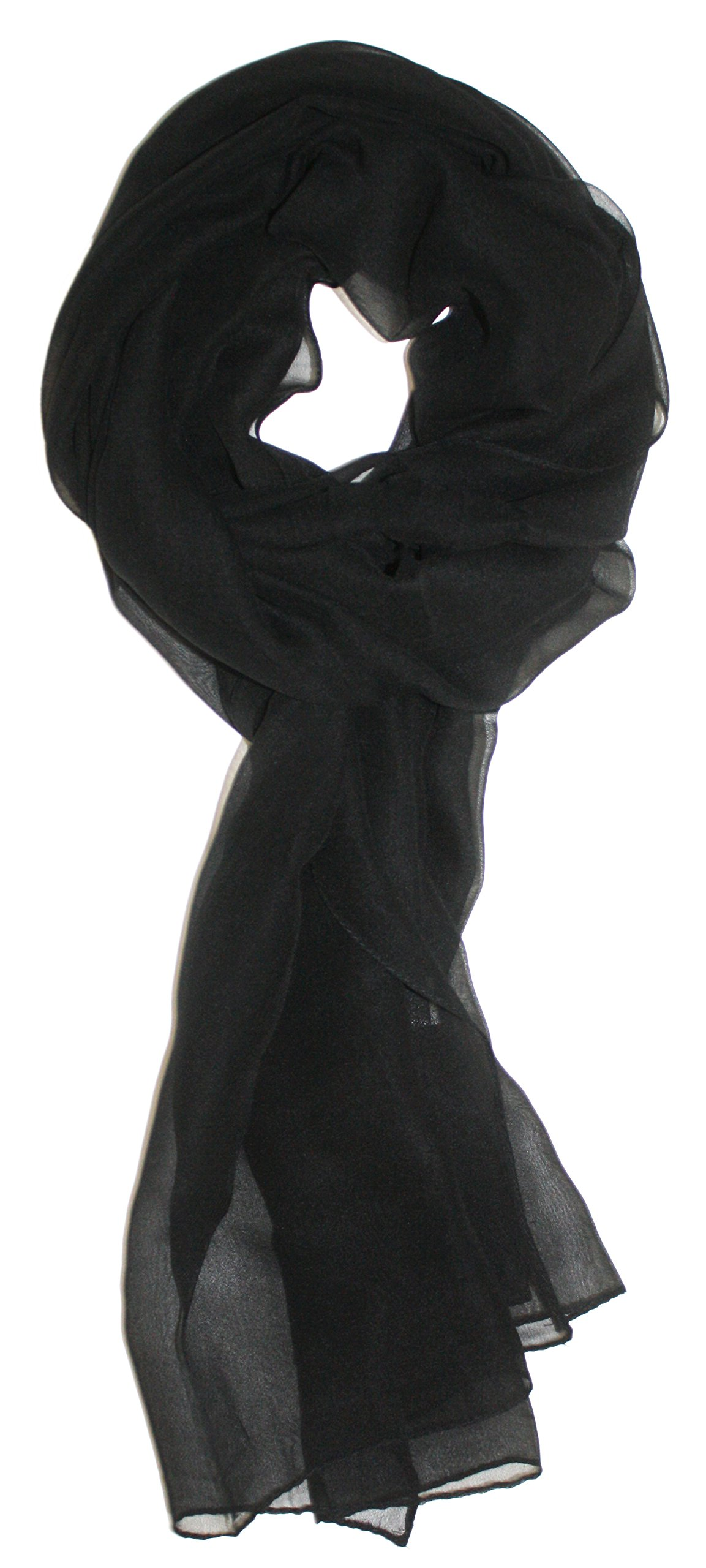 Ted and Jack - Solid Silk Lightweight Accent Scarf in Jet Black