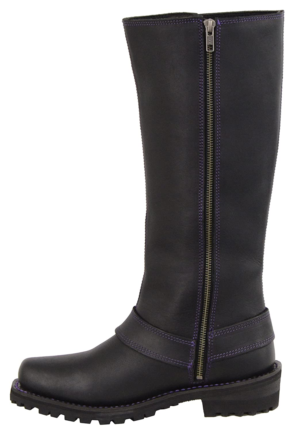 Milwaukee Leather Womens Leather Harness Boots with Purple Accent Loops Black//Purple, Size 7.5//14